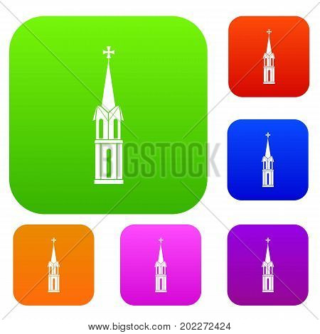 Church set icon in different colors isolated vector illustration. Premium collection