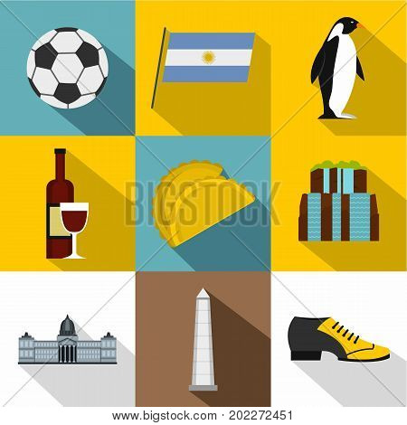 Tourism in Argentina icon set. Flat style set of 9 tourism in Argentina vector icons for web design