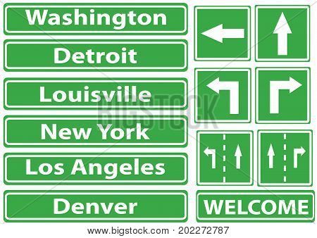 Vector pictures of green road signs with the names of 5 cities and 3 sign with arrow directions and the drawing rack for mounting the sign.