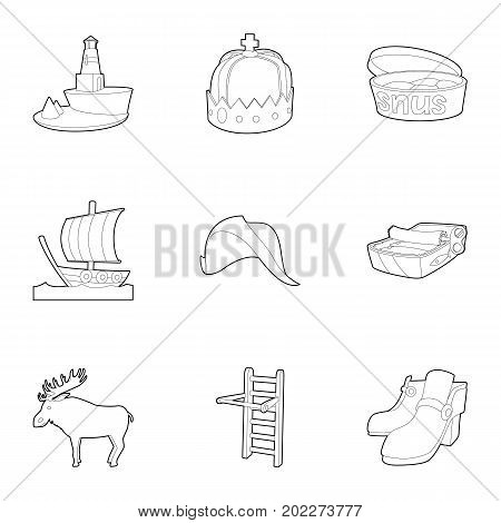 Scandinavia icons set. Outline set of 9 scandinavia vector icons for web isolated on white background