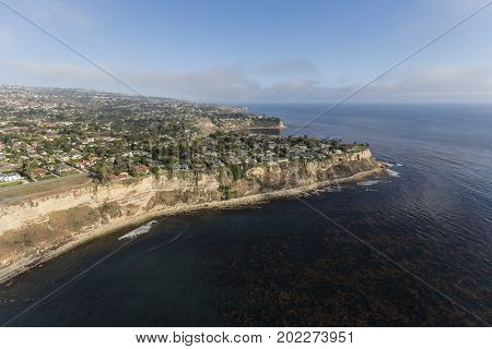Aerial view of the Palos Verdes Estates in Los Angeles County, California.