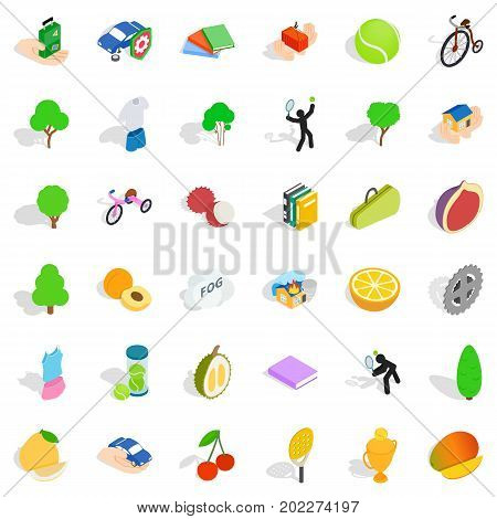 Vitality icons set. Isometric style of 36 vitality vector icons for web isolated on white background