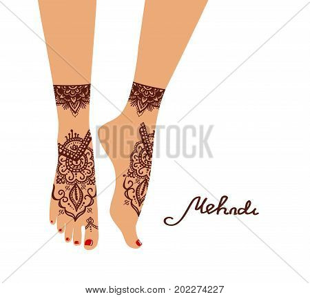 Element yoga mudra legs with mehendi patterns. Vector illustration for a yoga studio, tattoo, spas, cards, souvenirs. Indian traditio