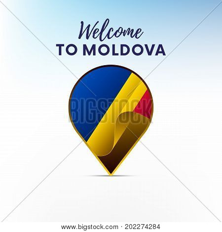 Flag of Moldova in shape of map pointer or marker. Welcome to Moldova. Vector illustration.