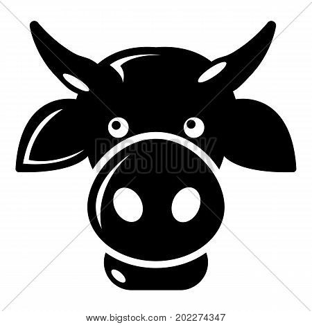 Cow head icon . Simple illustration of cow head vector icon for web design isolated on white background