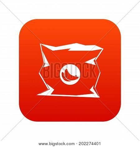 Crumpled bag of chips icon digital red for any design isolated on white vector illustration