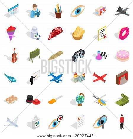 Vocation icons set. Isometric style of 36 vocation vector icons for web isolated on white background