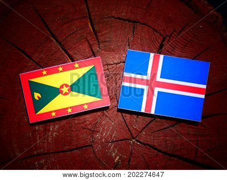 Grenada Flag With Icelandic Flag On A Tree Stump Isolated
