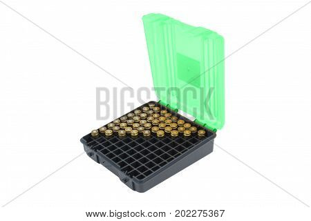 Bullets in a plastic box on a white background isolated