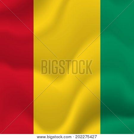 Guinea waving flag. Waving flag. Vector illustration.