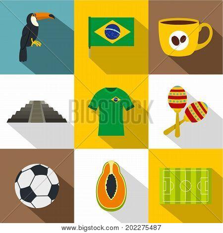 Brazilia icon set. Flat style set of 9 Brazilia vector icons for web design