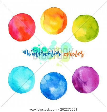 Watercolor illustration of colorful bubble speech circles