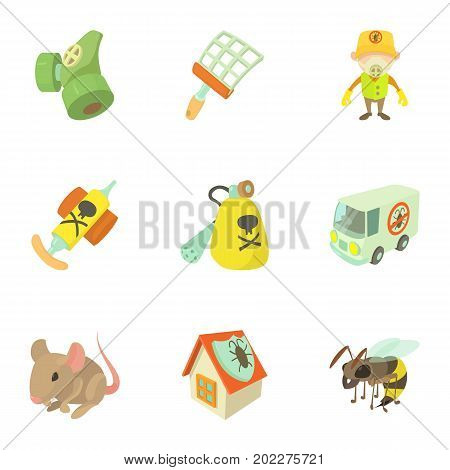 Pest icons set. Cartoon set of 9 pest vector icons for web isolated on white background