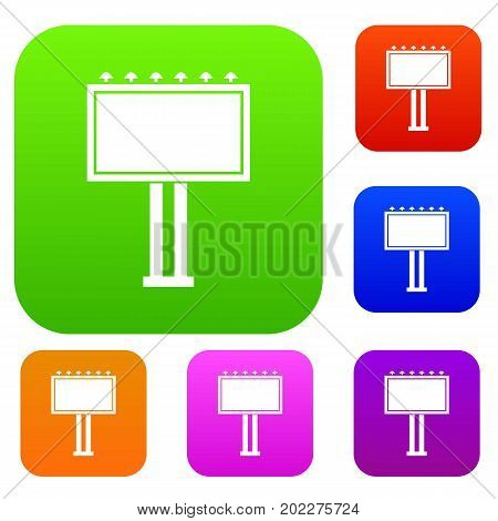 Advertising billboard set icon in different colors isolated vector illustration. Premium collection