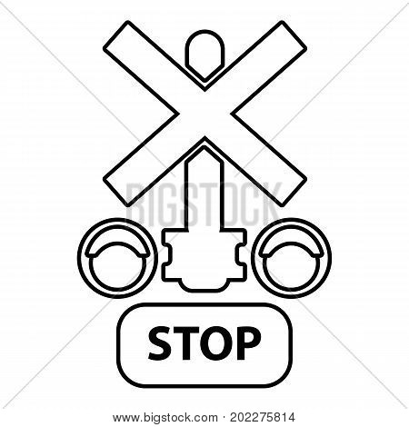 Traffic light stop railway icon. Outline illustration of traffic light stop railway vector icon for web design isolated on white background
