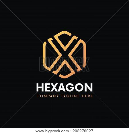 Elegant X Letter Linear Logo Hexagon Luxury Icon Sign Vintage Design.
