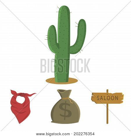 Bag of money, saloon, cowboy kerchief, cactus. Wild west set collection icons in cartoon style vector symbol stock illustration .