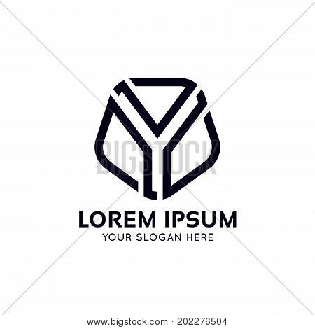 Clean Y Letter Shield Sign Linear Icon Vector Design.