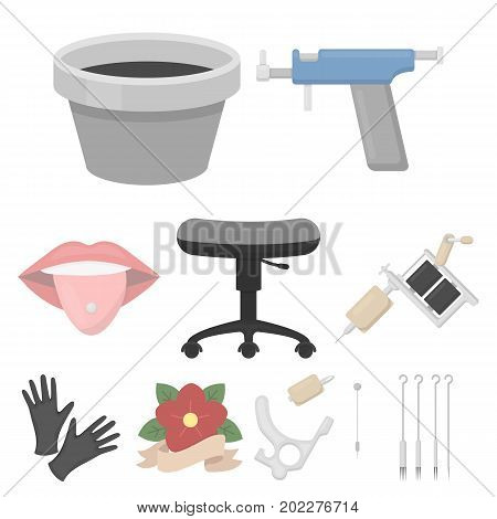 Tattoo studio set icons in cartoon style. Big collection of tattoo studio vector symbol stock