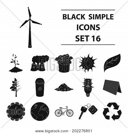 Bio and ecology set icons in black design. Big collection of bio and ecology vector symbol stock illustration