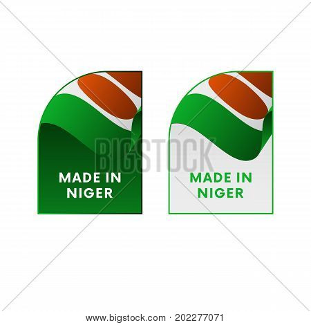 Stickers Made in Niger. Waving flag. Vector illustration.