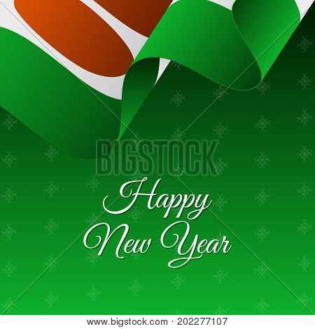 Happy New Year banner. Niger waving flag. Snowflakes background. Vector illustration.