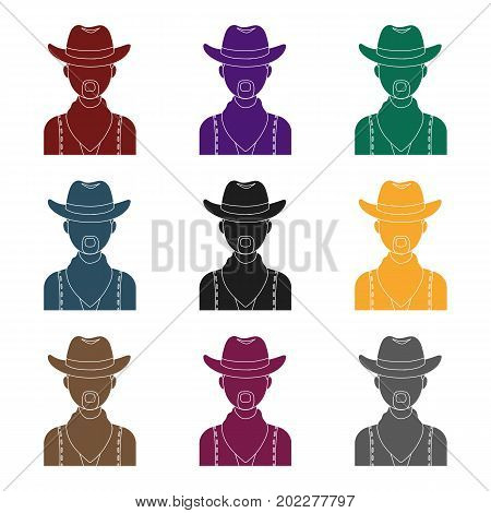 Cowboy icon in black design isolated on white background. Rodeo symbol stock vector illustration.