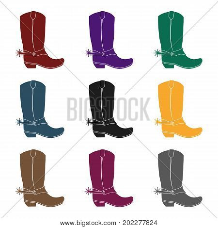 Cowboy boots icon in black design isolated on white background. Rodeo symbol stock vector illustration.