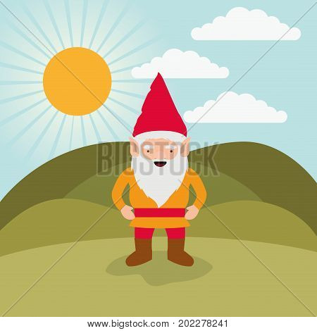 gnome fantastic character happiness expression in mountain landscape background vector illustration