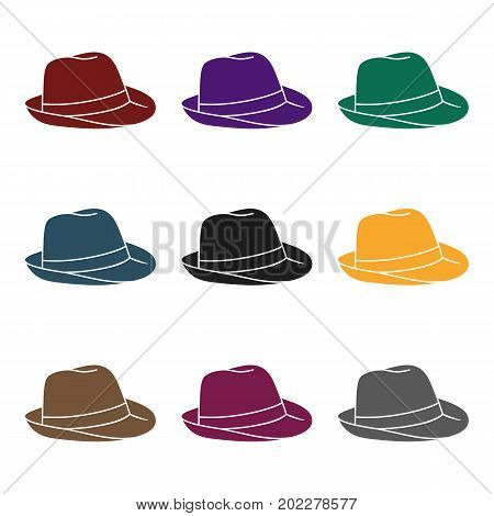 Panama hat icon in black design isolated on white background. Surfing symbol stock vector illustration.