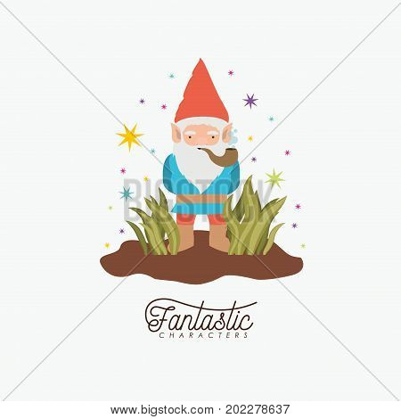 gnome fantastic character coming out of the bushes with smoking pipe with costume and colorful sparks and stars on white background vector illustration