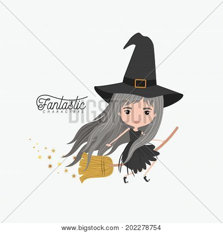 cute witch fantastic character flying in broom and colorful sparks and stars on white background vector illustration