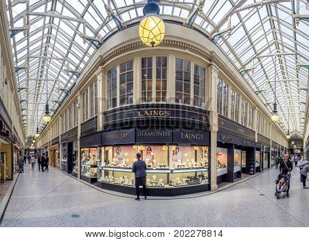 GLASGOW, SCOTLAND - JULY 20: Argyll Arcade on Buchanan Street on July 20, 2017  in Glasgow, Scotland. Argyll Arcade is a famous covered shopping area on Buchanan Street in Glasgow.