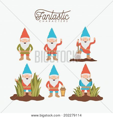gnome fantastic character set with costume and icons on white background vector illustration