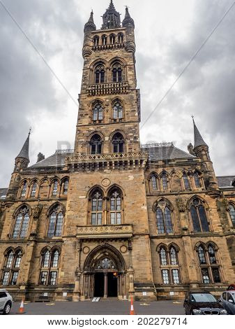 GLASGOW, SCOTLAND - JULY 20: University of Glasgow on  July 20, 2017 in Glasgow, Scotland. The University of Glasgow is one of the four ancient universities of Britain.