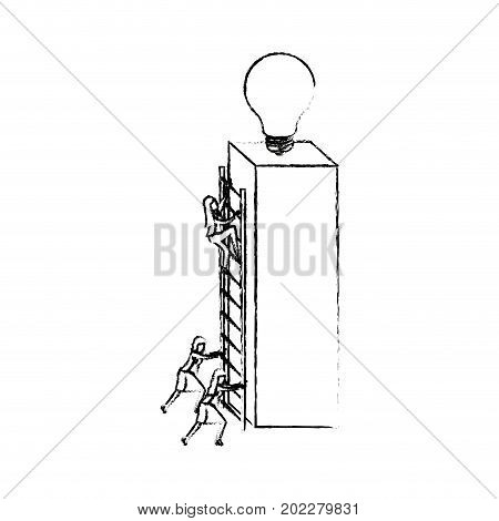 businesswomen climbing wooden stairs in a big rectangular block with light bulb in the top silhouette blurred monochrome vector illustration