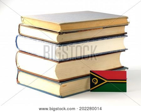 Vanuatu Flag With Pile Of Books Isolated On White Background