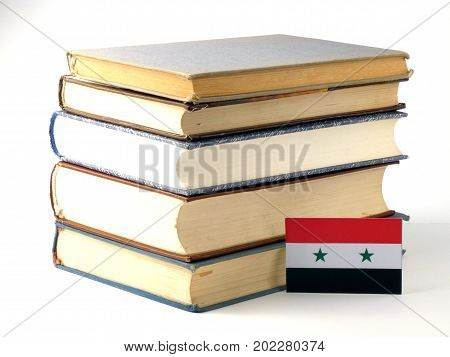Syria Flag With Pile Of Books Isolated On White Background