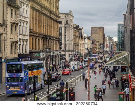 GLASGOW, SCOTLAND - JULY 21: Argyle Street on July 21, 2017  in Glasgow, Scotland. Argyle Street is a important shopping district in Glasgow and has many fine restaurants and shops.
