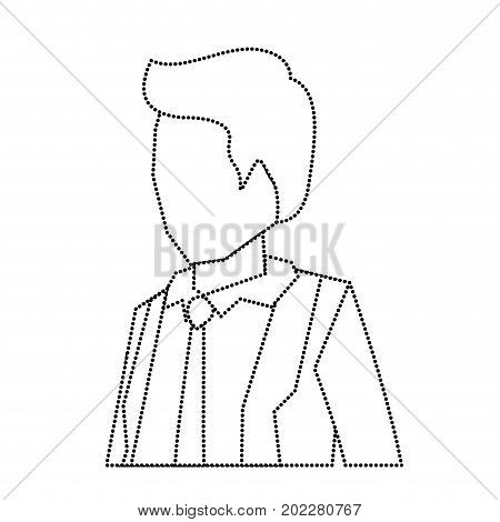 businessman faceless in suit and half body monochrome silhouette dotted vector illustration