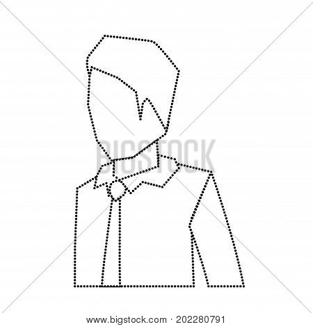 businessman faceless in shirt with tie and half body monochrome silhouette dotted vector illustration