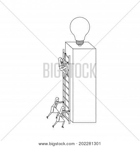 businesswomen climbing wooden stairs in a big rectangular block with light bulb in the top monochrome silhouette dotted vector illustration