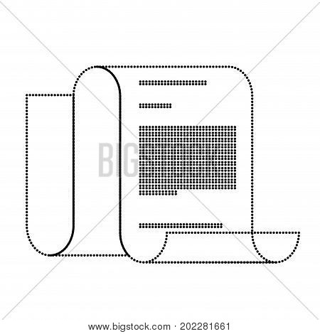 continuously sheet contract document monochrome silhouette dotted vector illustration