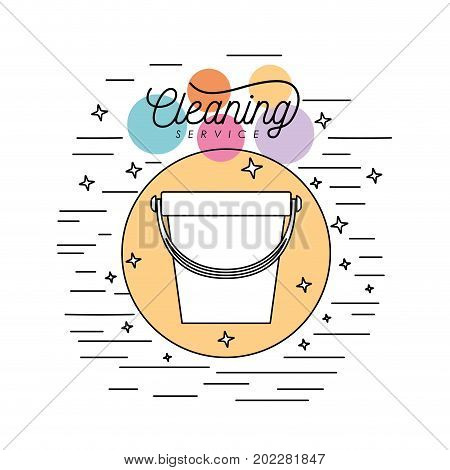 bucket plastic silhouette cleaning service plastic in circular frame with color bubbles and decorative stars and lines on white background vector illustration