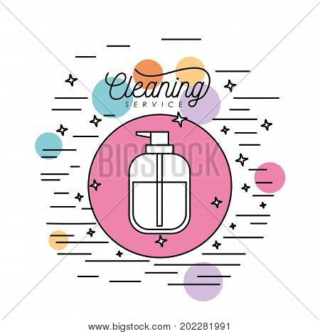dispensing bottle cleaning service silhouette in circular frame with color bubbles and decorative stars and lines on white background vector illustration