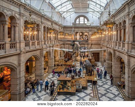GLASGOW, SCOTLAND - JULY 21: Spitfire Hall in the Kelvingrove Art Gallery and Museum in Glasgow Scotland United Kingdom on July 21, 2017. The Kelvingrove is an main tourist attraction in Scotland.