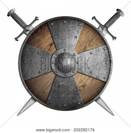 metal crusaders shield and two crossed swords 3d illustration isolated
