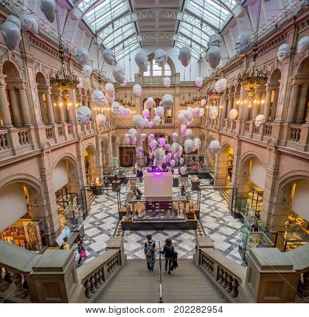 GLASGOW, SCOTLAND - JULY 21: The East Court in the Kelvingrove Art Gallery and Museum in Glasgow Scotland United Kingdom on July 21, 2017. The Kelvingrove is an main tourist attraction in Scotland.