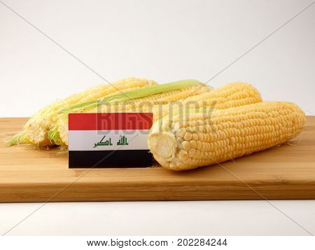 Iraqi Flag On A Wooden Panel With Corn Isolated On A White Background