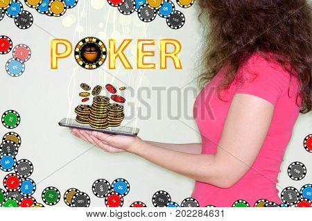 Poker Concept. The Girl Is Holding A Tablet